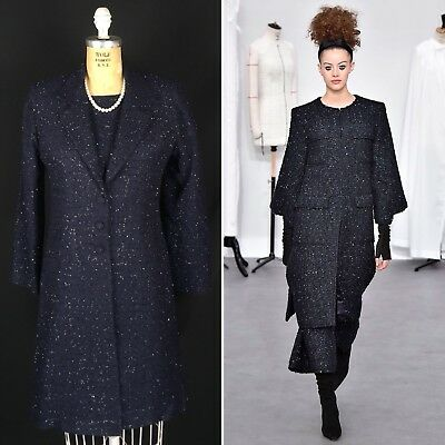 Vintage 60's Women's Small Navy Black Sparkle Tweed Sheath Dress & Duster Jacket
