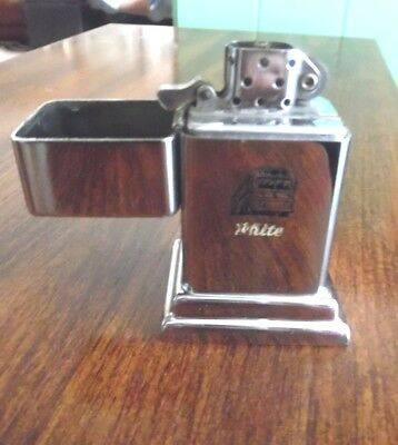 Vintage Zippo Table Cigarette Lighter - White and Bus Engraved On Front