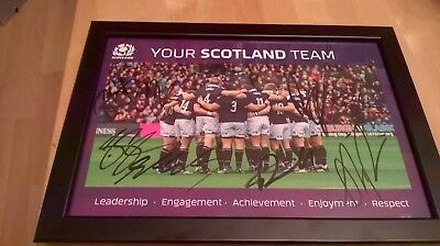Signed Scotland rugby poster-framed with at least 8 signatures