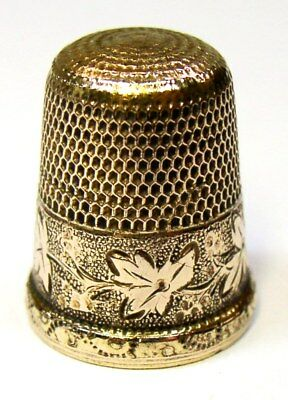 "Antique Simons Brothers Gold Thimble Wild Grapes & Leaves Pattern Monogram ""B"""
