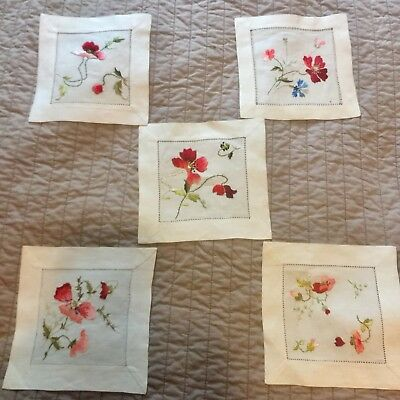 Antique c1900 Silk Society Embroidered Linen Table 5 Square Mats Doilies Poppies