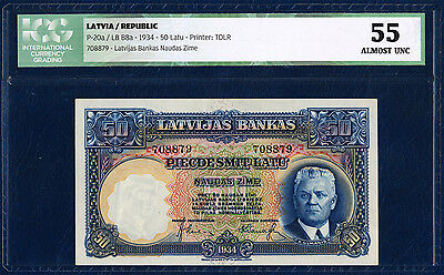LATVIA 50 LATU PICK 20a 1934 ICG 55 ALMOST UNC