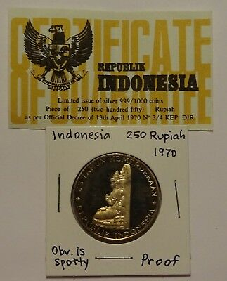 Indonesia 250 Rupiah 1970 Proof with Certificate