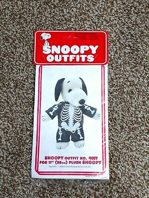 """Vintage Peanuts Baby Plush Snoopy Skeleton Costume Outfit Clothing Fits 11"""""""