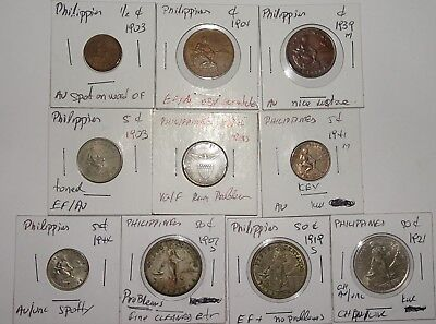 Philippines US 10-piece Lot of Various Coins, 3 are Silver (10 coins total)