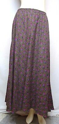 Vintage Judith Fine Maxi Skirt Brown Floral Flower Print USA Made Elastic Waist