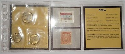 Syria 3-piece 1960 BU Set Including Uncancelled Stamp in Custom-made Sleeve