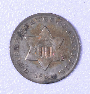 1851-O 3C Silver Three-Cent Piece - EF