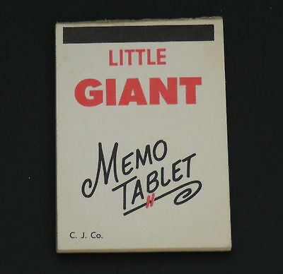 Cracker Jack prize Little Giant Memo Tablet paper book vintage 1950s a