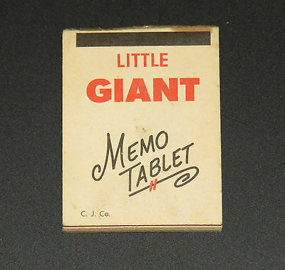 Cracker Jack prize Little Giant Memo Tablet paper book vintage 1950s b