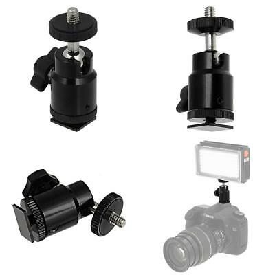 Universal 1/4-20 Camera Accessory Mount To Hot Or Cold Shoe With Mini Ball Head