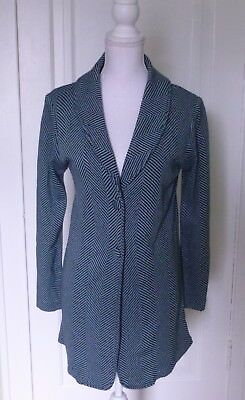 Worthington Knits Blue with Black stripes Sweater-like Jacket Blazer Size Large