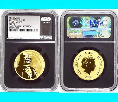 "2017 NIUE STAR WARS DARTH VADER 1oz G$250 Gold Coin NGC MS70 1 of First 25 ""007"""