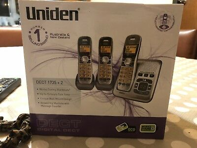 Uniden DECT1735+2 Three Handset Cordless Home Phone with Answering Machine - NEW