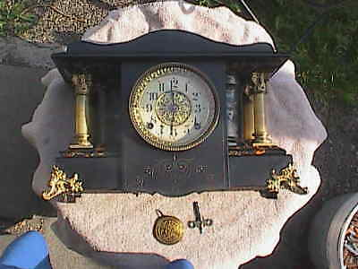 Antique Seth Thomas Shasta Mantel Shelf Clock Adamantine Working Patented 1880