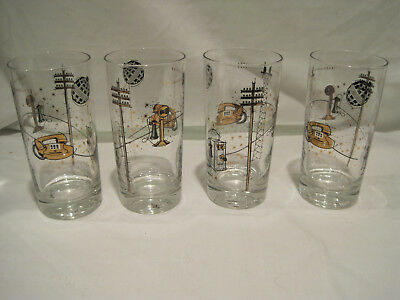 Libbey Glasses Bell Telephone Bar Tumblers Mid Century Modern Retro
