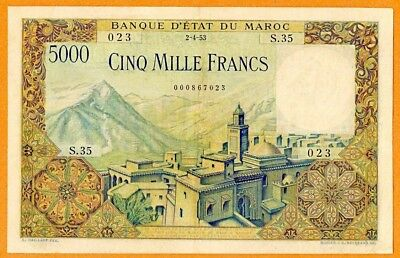 Morocco | 5000 Francs | 1953 | P.#49 |Vf++ | French Colonial Large Size Note