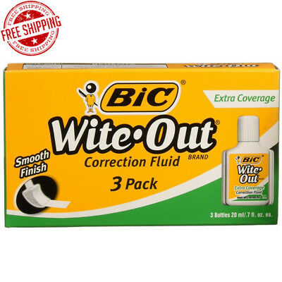 Bic Wite-Out Extra Coverage Correction Fluid 20 ml Bottle Precise White 3 Pack