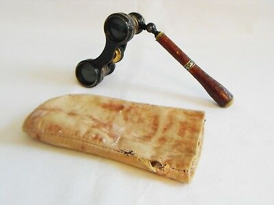 antique opera glasses lorgnette brass black enamel brown leather & gilt silver