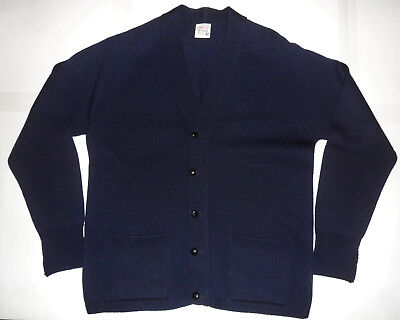Vintage 1950s ST MICHAEL Navy Blue 100% WOOL KNITTED VARSITY CARDIGAN SWEATER 42