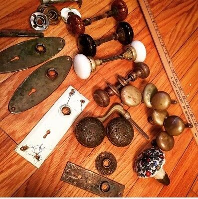 Lot of Genuine Antique Brass, Glass & Stone Door Knobs And Hardware East Lake?