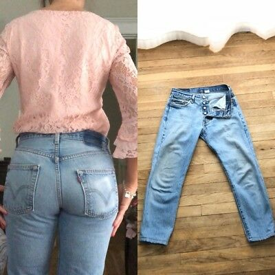 VTG HIGH WAIST LEVIS 501 Cropped REDONE Straight Skinny Tappered MoM JEANS 27