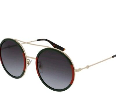 b90cf67dc0 GUCCI GG0061S 003 ROUND STYLE Green  Gold Sunglasses 56-22 140 AUTHENTIC