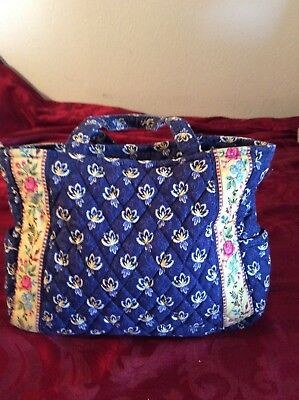 VERA BRADLEY Blue Green & White Floral Print Hand Bag Purse Tote