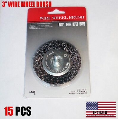 "15X - 3"" Crimped Carbon Steel Wire Wheel Brush w/ 1/4"" Shank For Die Grinder"