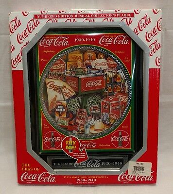 The Eras of Coca-Cola 1930 to 1940 Numbered Edition Musical Collectors Plaque