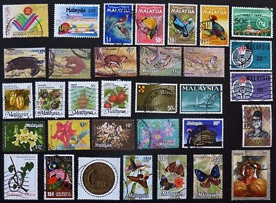 Malaysia Stamp Collection Of 33 Different Used Stamps All Unhinged