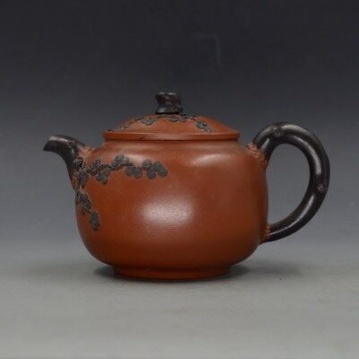 Vintage Chinese Yixing Zisha Hand-carved Plum Blossom Teapot Made By Jiang Rong