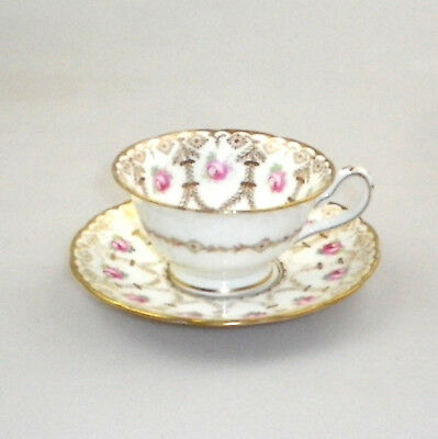 Vintage English Tea Cup and Saucer with Derby Rose Design