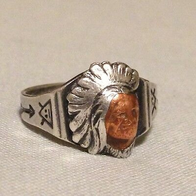 Antique Vintage Native American Sterling & Copper Indian Chief Ring Size 8.5