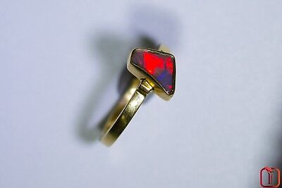 18 ct Yellow Gold Dazzling Solid Black Opal Gem  with Fiery Red Flash 0.50cts