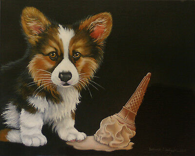 HAND painted CORGI pembroke cardigan on canvas ice cream puppy dog by DDellinger