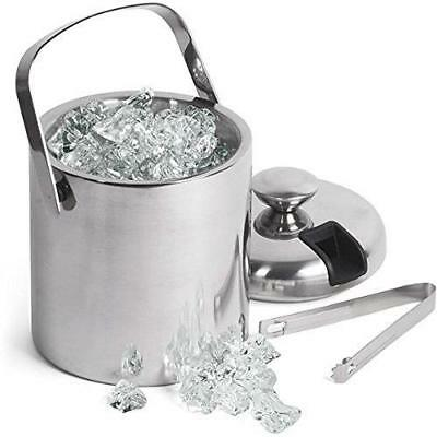GSCW Small Ice Bucket with Tongs- Best Double Wall Insulated Stainless Steel