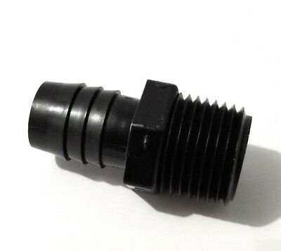 "(2) Two 1/2"" NPT x 5/8"" Hose Black HDPE Adapter Fitting"