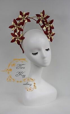 Tara Kay Millinery Brand New Red and Gold Leather Crown Hat Fascinator