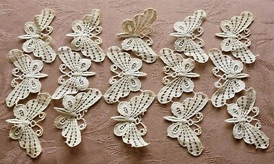 Antique Vintage Lace Butterfly Applique Lot Of 15 4 Trimming Dresses Nice 4 Doll