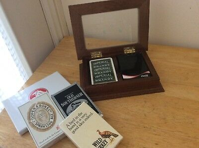 Wooden Card Box with cards HOLDEN / COKE/ WILD TURKEY ECT ----