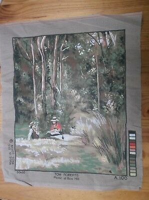 Unworked Tapestry Canvas With Wool. Australian. Picnic At Box Hill