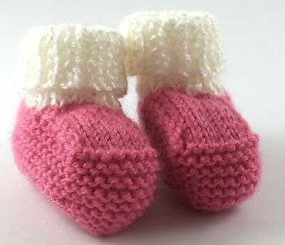 Pink And White Hand Knitted Baby Bootees Made In Australia