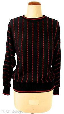 VINTAGE BLACK light knit RED METALLIC wiggly STRIPES striped JUMPER sweater 8 10