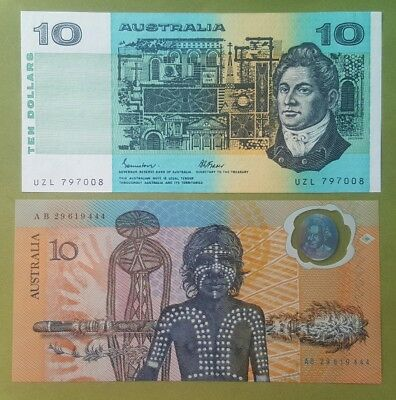 1985 & 1988 Ten Dollar Australian notes X Two Unc.