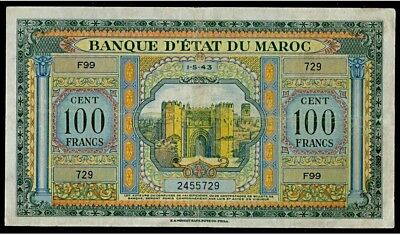 Morocco | 100 Francs | 1943 |Large Size American Print French Colonial Note