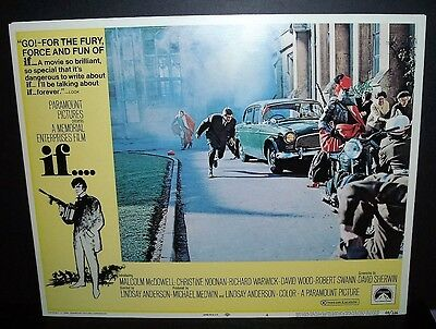 "If.... "" Malcolm Mcdowell "" 1969 11x14 Original U.S lobby card #4 in Toploader"