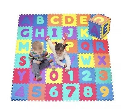 Click N' Play, Alphabet and Numbers Foam Puzzle Play Mat, 36 Tiles