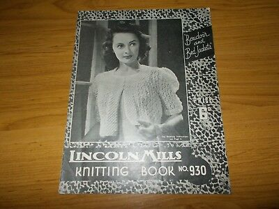 VINTAGE~LINCOLN MILLS KNITTING PATTERN #930~LADIES BOUDOIR & BED JACKETS~1940's