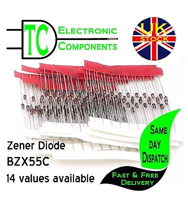 Zener Diode BZX55C 2V4 to 33V Packs of 10 **UK Seller**